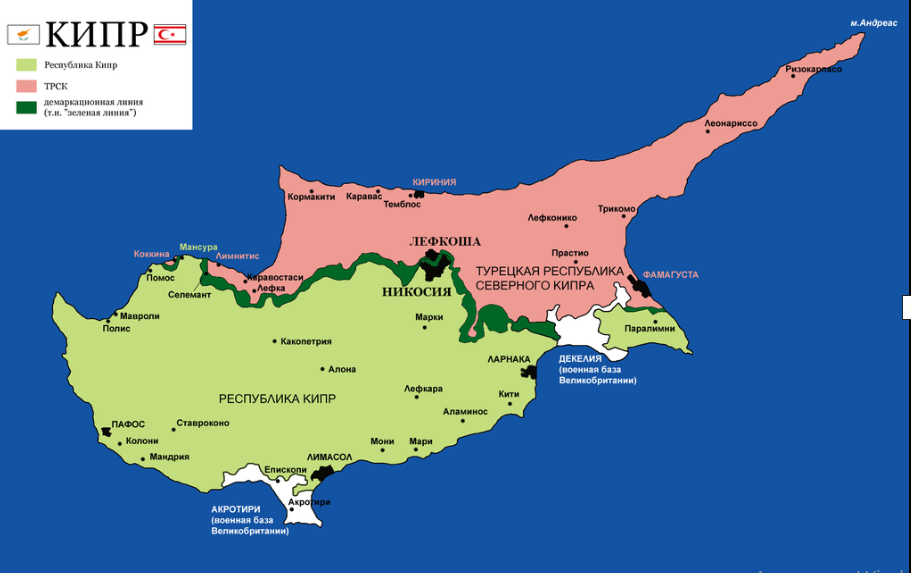 Изображение карты Кипра. Блог ProCyprus