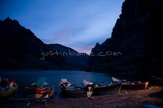 Photo: Dories anchored in camp while Rafting the Grand Canyon. Grand Canyon NP, AZ.