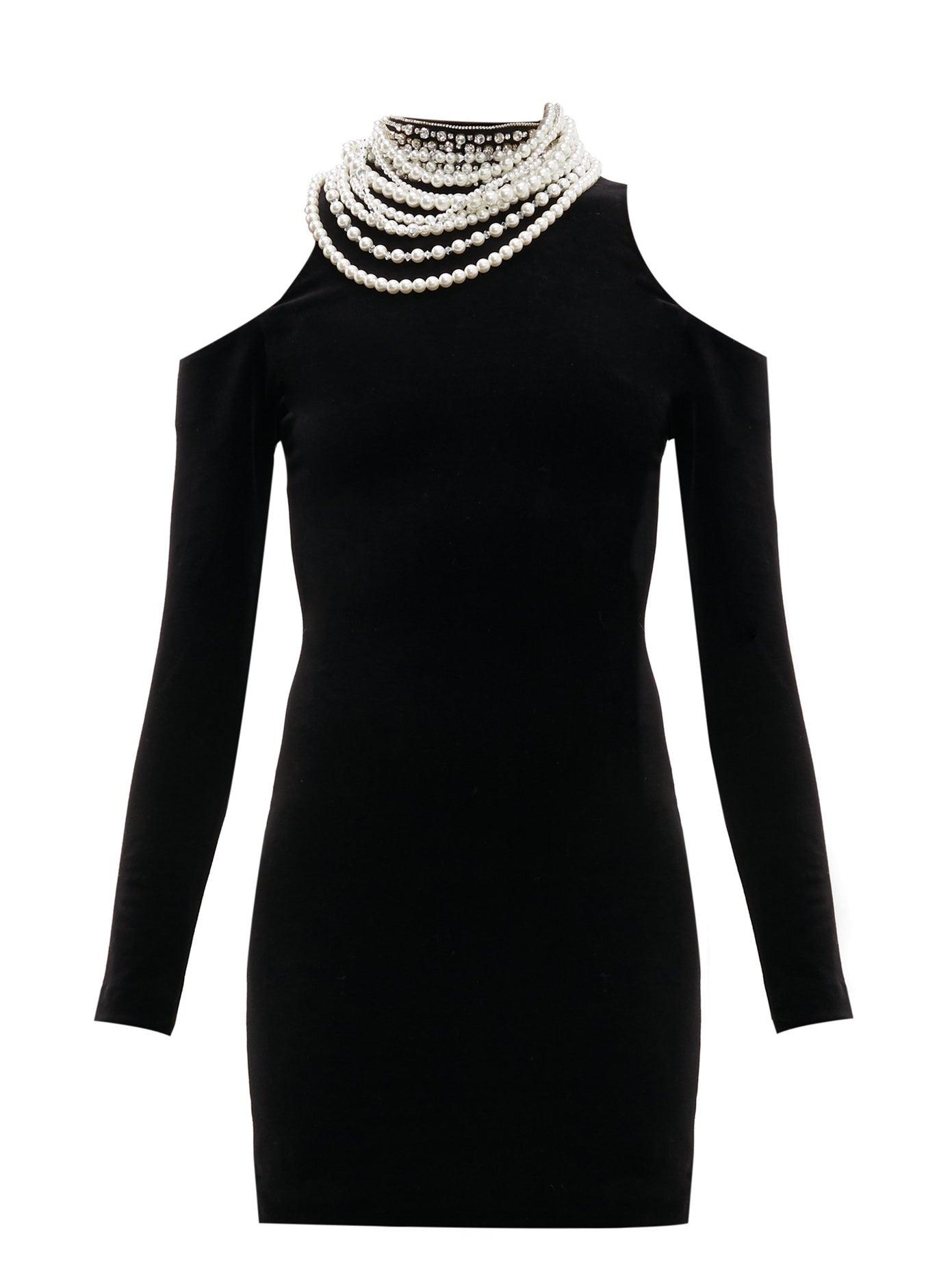 balmain cold shoulder embellished dress
