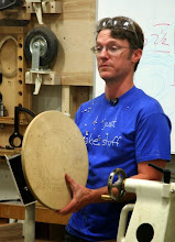 Photo: To hollow the bowl on the third axis, Mark will use a large wooden faceplate as an accessory.