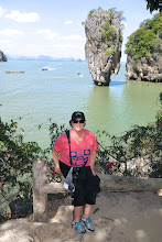 "Photo: Debbie and Khao Tapoo (""Nail Mountain"") on ""James Bond"" island where ""Man with the Golden Gun"" was filmed"