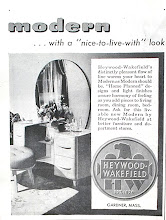 "Photo: 1947 A very Modern look. My parents aquired a bedroom set with similar styling  and blonde wood. It came with ""Hollywood"" beds and a big square ottoman covered in chartruese fabric that opened for blanket storage.  By the way, Hollywood beds were twin beds that used a common headboard and had a night table between them. Check out some of the I Love Lucy reruns"