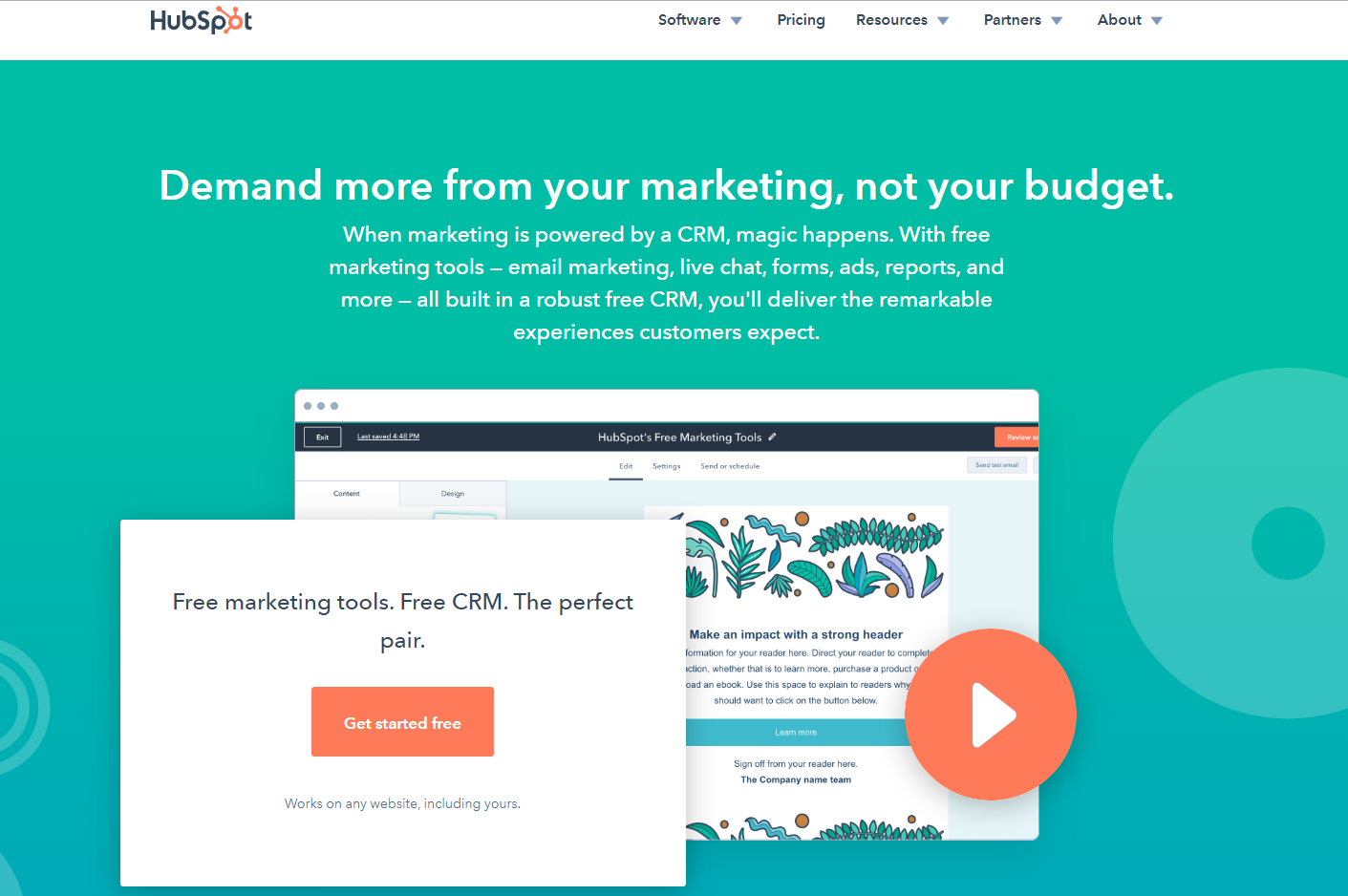 Go to HubSpot website and click 'Get Started Free'.