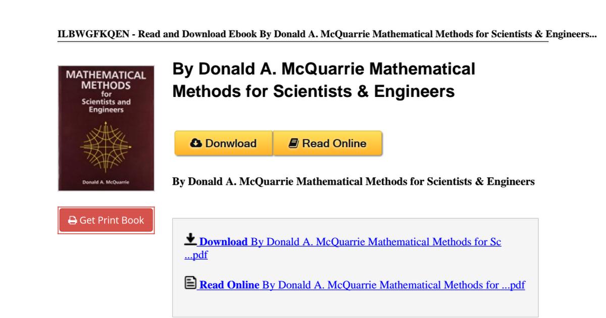 Mcquarrie Mathematical Methods Scientists Engineers B00n4enf24 Pdf