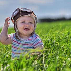 Aviator by Piotr Owczarzak - Babies & Children Children Candids ( mogilno, field, poland, boy, summer, kids )