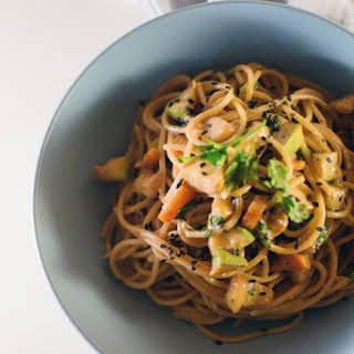 Tahini And Vegetables Whole Wheat Pasta.