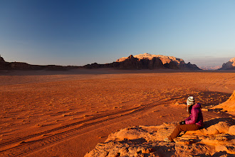 Photo: Views of Jebel Rum and the desert at sunset