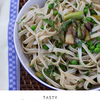 Fettuccine with Grilled Asparagus, Peas, and Lemon.