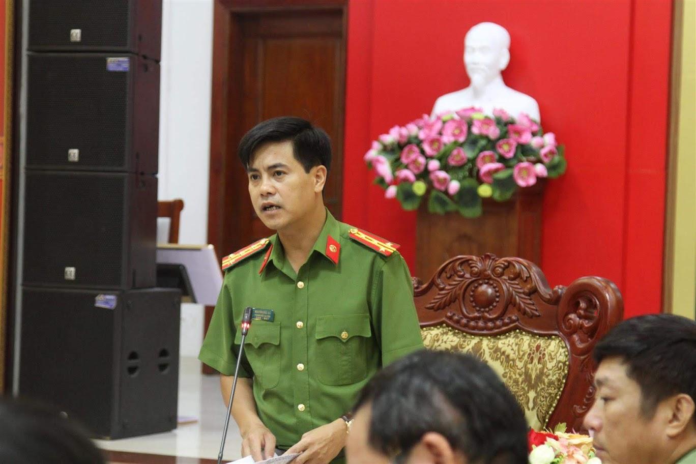 Đồng chí Đại tá Nguyễn Đức Hải, Phó Giám đốc Công an tỉnh chủ trì cuộc họp