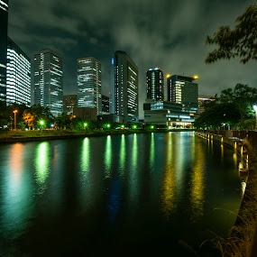 night city by Oemar Patex - Uncategorized All Uncategorized ( reflection, city, night city, night park, river, park )