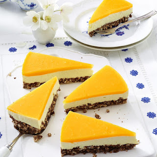 Mango Cheesecake with Puffed Rice Base.
