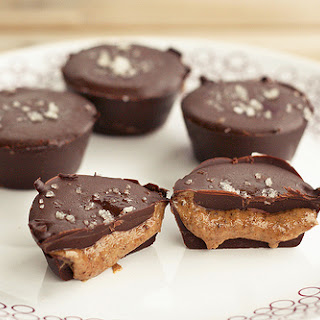 Dark Chocolate, Almond Butter Mini-Cups with Sea Salt – Gluten-free, Vegan + Refined Sugar-free.