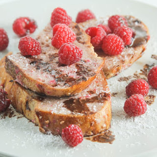 Rustic Raspberry French Toast with Coconut Chocolate Sauce.
