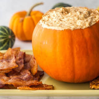 Pumpkin Cheesecake Dip with Bacon Chips (low carb).