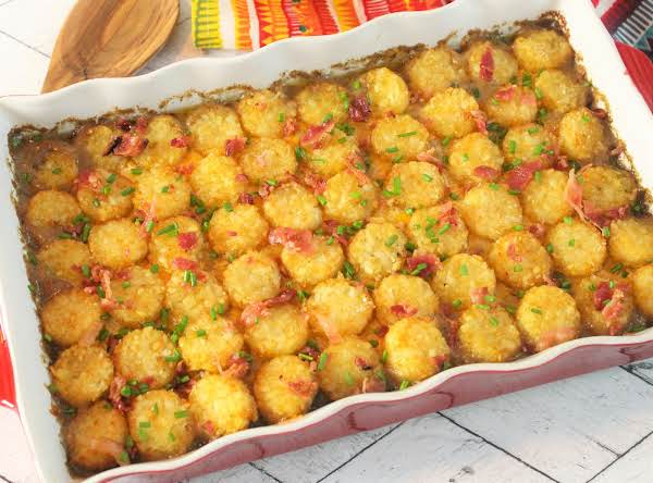 Tater Tot Casserole With Bacon Ready To Be Served.