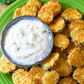 """Oven Baked """"Fried"""" Pickles with Garlic Sauce."""