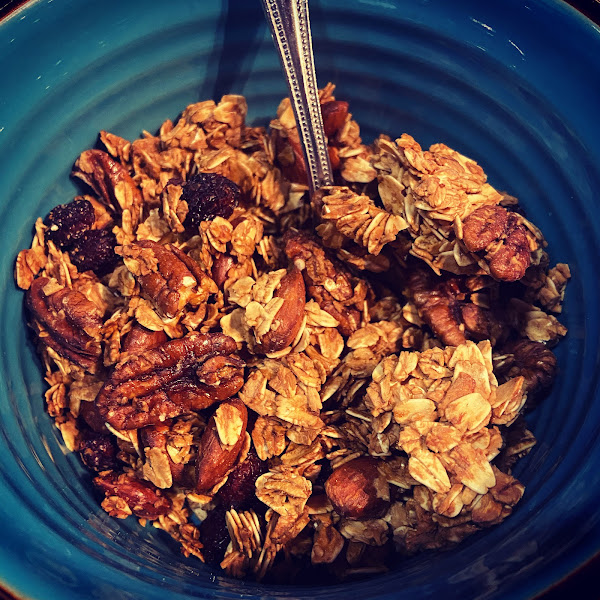 Gluten and dairy free homemade granola. Also available refined sugar free.
