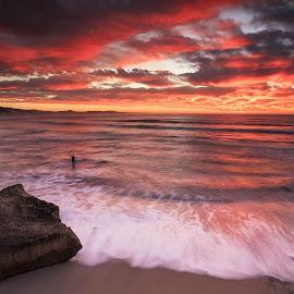 Photobomb  by Lloyd Seeber - Landscapes Beaches ( #nahoon #beach #sky #clouds #sunrise,  )