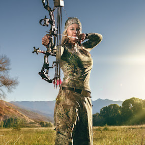Bow Huntress by Braxton Wilhelmsen - Sports & Fitness Other Sports ( bow hunting, retouching, female, meadow, photography, braxton wilhelmsen, deer, photoshop )