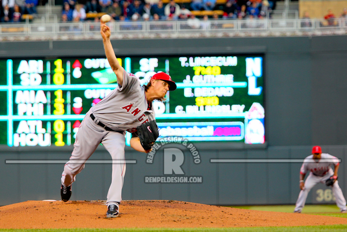 Photo: 11 April 2012: Angels starting pitcher Jered Weaver at Target Field in Minneapolis, MN