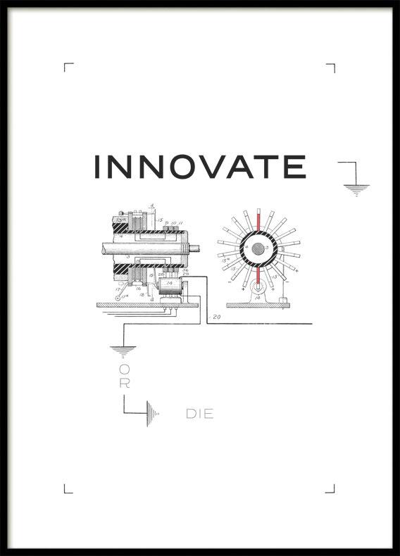 Citat Innovate or die , Poster