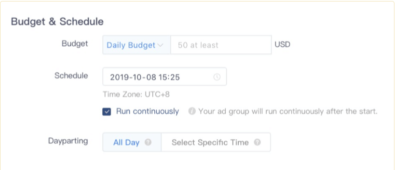 Setting Budget and schedule on TikTok ad Platform