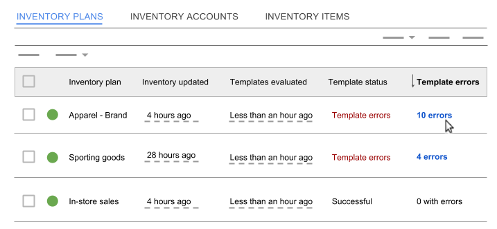 Sort inventory plans by the Template errors column.