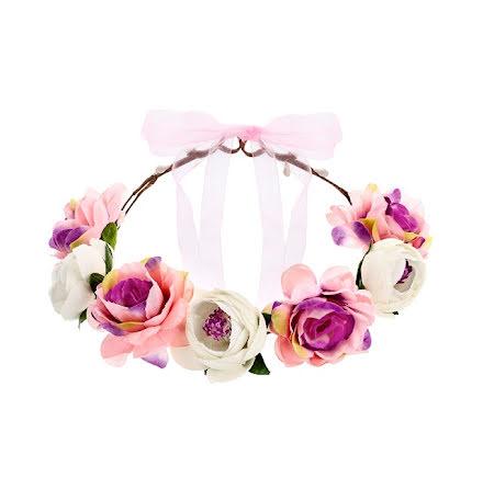 Hårkrans - Blomster, rosa