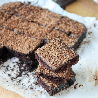 Cocoa Brownies with Chocolate Fudge Frosting.