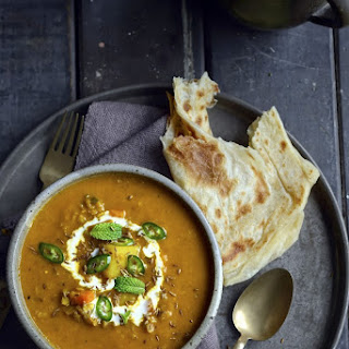 Fragrant Spiced Indian Vegetable and Lentil Soup.