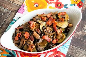 Zucchini, Bacon and Mushroom Saute