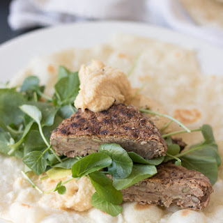 Lentil Burger Wraps with Hummus.