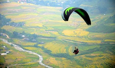 Đèo Khau Phạ diễn ra bay dù lượn trên mùa vàng 2015