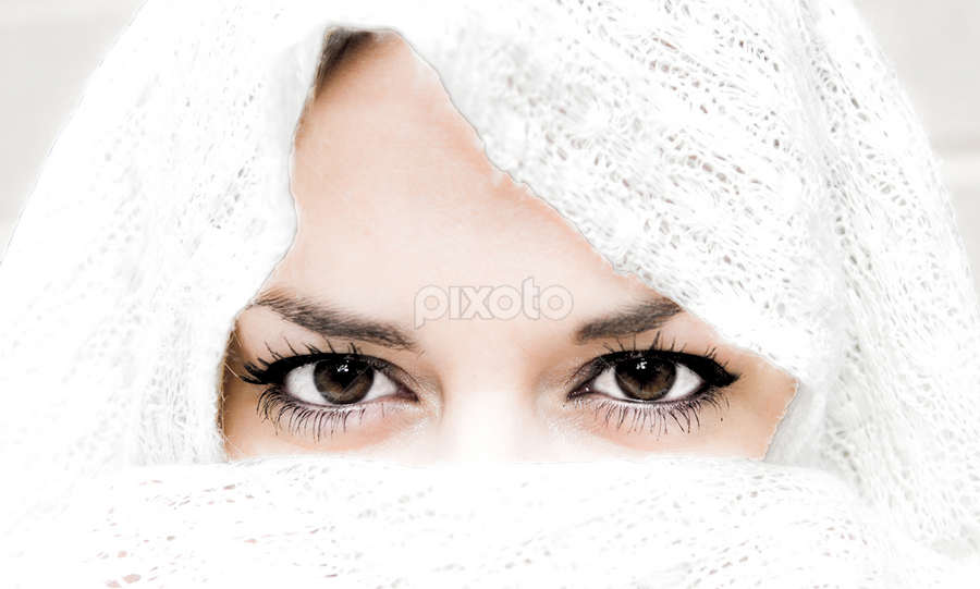 Brown Eyed Girl by Christine Clark-Hess - People Portraits of Women ( high key, brown eyes, scarves )
