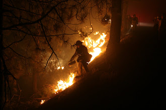 Photo: Firefighters; Flames; Burning out;
