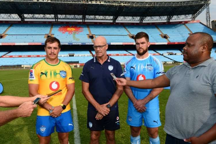 Burger Odendaal, John Mitchell (Bulls Coach) and Nic de Jager of the Bulls during the Vodacom Bulls Squad Announcement at Loftus Versfeld on January 22, 2018 in Pretoria.