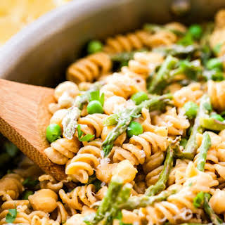 One Pot Creamy Lemon Goat Cheese Pasta with Chickpeas and Asparagus.