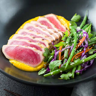 Seared Ahi Tuna with Crispy Sesame Green Beans.