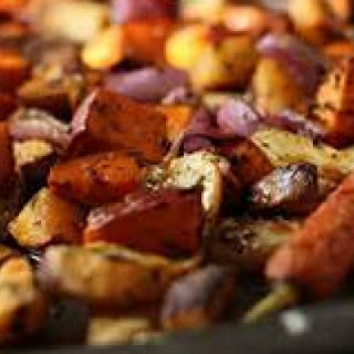Loads of Garlic Roasted Root Vegetables