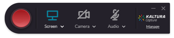Screenshot of the Kaltura Desktop recording controls with the Camera and Audio options disabled