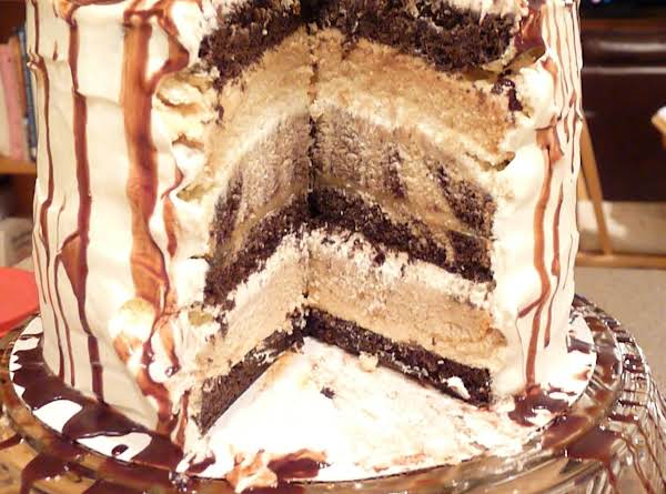 My Son's Birthday Cake. Wacky Chocolate, Wacky Vanilla, And Wacky Marble Cake With Caramel Frosting, And Salted Caramel Filling And Then Covered With 'stabilized Whipped Cream' Frosting.  Looks Yum Yum...and It Is!