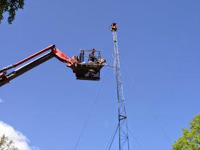 Photo: Antennen borta, strax fällning av masten.