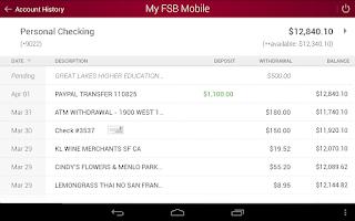 Screenshot of My FSB Mobile