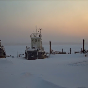 Wintering by Владимир Агруц - Transportation Boats ( winter, sunset, frost, boat, river )
