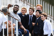 Siya Kolisi takes a selfie during the DHL Western Province training session at Bishops High School on October 11, 2018 in Cape Town, South Africa.