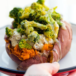 Cheezy Broccoli Stuffed Sweet Potato