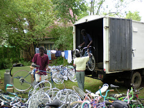 Photo: Arrival of Bikes Courtesy Wheels of Africa