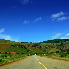 Road to the unknown by Danette de Klerk - Landscapes Travel ( sky, blue sky, green, road, hills, travel )