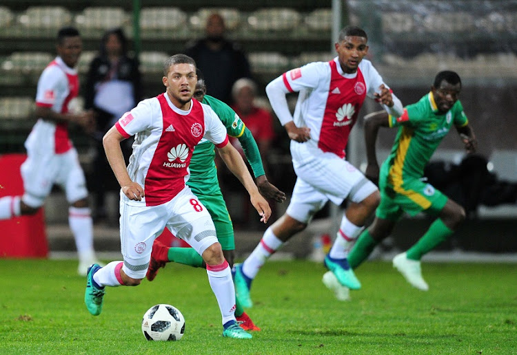 Grant Margeman of Ajax Cape Town during the Absa Premiership 2017/18 game between Ajax Cape Town and Baroka FC at Athlone Stadium, Cape Town on 24 April 2018.
