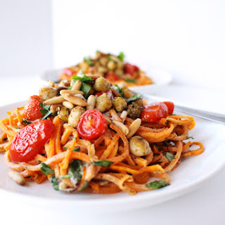 Sweet Potato Noodles with Zaatar Spiced Chickpeas & Tahini